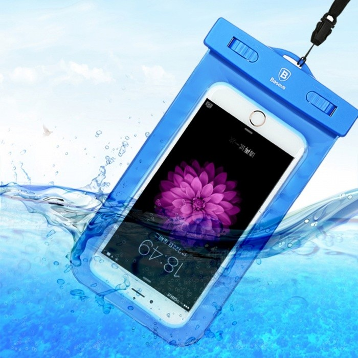 Baseus 5.5 inch Universal Phone Waterproof Case  Pouch Bag for IPHONE X 8 7 6 6s Plus Samsung S6 S7 Edge - BlueWaterproof Cases<br>Form  ColorBlueModelWaterproof PouchQuantity1 pieceMaterialPVC + ABSShade Of ColorBlueWaterproof LevelIPX8Compatible ModelsUniversalSuitable forCamping,Boating,Fishing,Diving,Swimming,Skiing,Rainy DaysTouch Control via CaseYesPacking List1 x Waterproof Pouch<br>