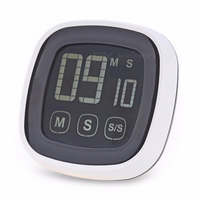 Antique Style Plastic Touch Screen Kitchen Timer Buzzer Alarm Stopwatch with LED Backlight and Digital LCD Display for Night Use Grey