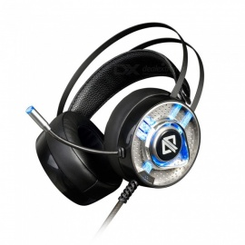 Ajazz AX360 3.5mm Wired Computer Game Headphone Headset with Microphone, 7-Color Light - Black