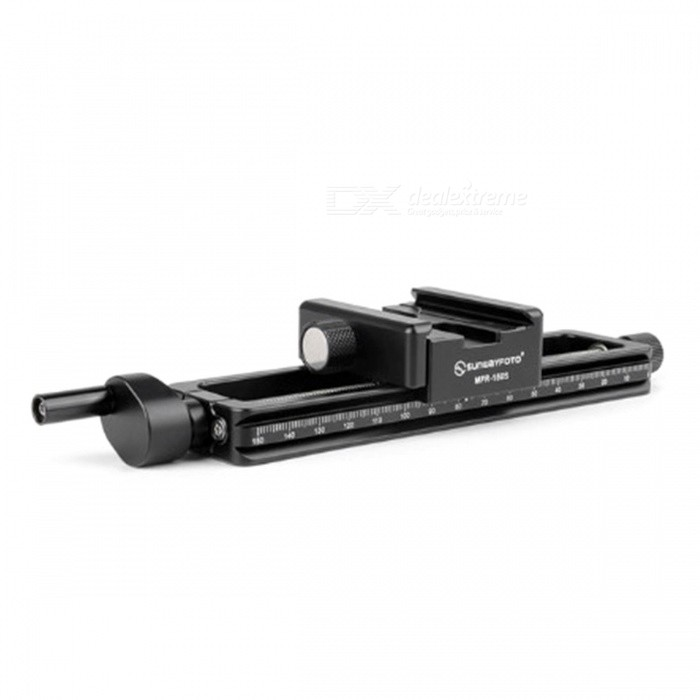 SUNWAYFOTO MRF-150S Macro Focusing Rail with Screw-Knob ClampOther Accessories<br>Form  ColorBlackModelMFR-150SMaterialAluminumQuantity1 setPacking List1 x MFR-150S Macro Focusing Rail<br>