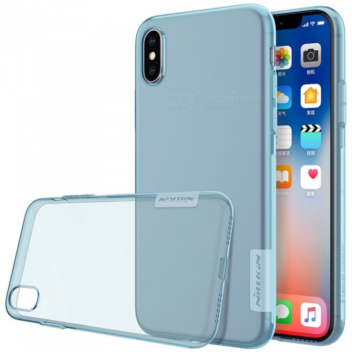 Nillkin Soft TPU Protective Cover Case for Apple IPHONE X - BlueTPU Cases<br>Form  ColorTranslucent BlueModelNIPHX00BS04Quantity1 DX.PCM.Model.AttributeModel.UnitMaterialTPUCompatible ModelsiPhone XDesignSolid Color,TransparentStyleBack Cases,Full Body CasesPacking List1 x Nillkin Nature TPU Case<br>