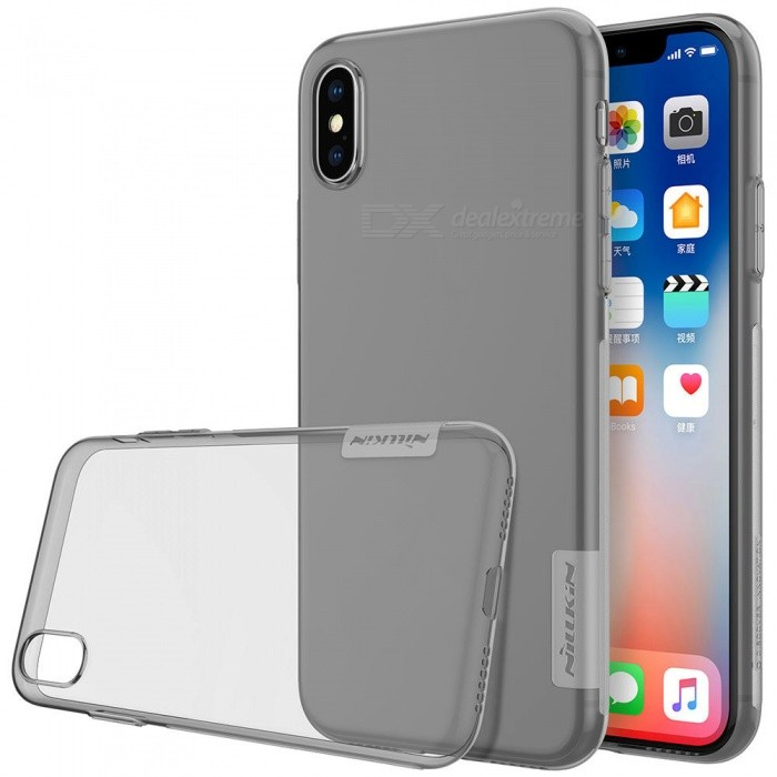 Nillkin Soft TPU Protective Cover Case for Apple IPHONE X - GrayTPU Cases<br>Form  ColorTranslucent GreyModelNIPHX00BS09Quantity1 DX.PCM.Model.AttributeModel.UnitMaterialTPUCompatible ModelsiPhone XDesignSolid Color,TransparentStyleBack Cases,Full Body CasesPacking List1 x Nillkin Nature TPU Case<br>