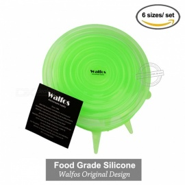 WALFOS Universal 100% Food Grade Real Silicon Stretch Lid Cover, Silicone Saran Food Wrap-Bowl Pot Pan for Kitchen Green