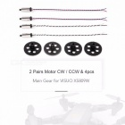 2 Pairs 8520 Coreless Motor CW CCW + 4PCS Main Gear for VISUO XS809W XS809HW FPV Quadcopter Drone RC Airplane Parts Black