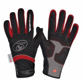 NUCKILY PD07 Unisex Winter Full Finger Cycling Touch Screen Gloves Warm Thickened Windproof Outdoor Sports Gloves - Red (M)