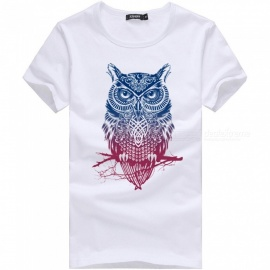 3D Color Owl Style Fashion Personality Casual Cotton Short-Sleeved T-Shirt for Men - White (XL)