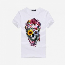 3D Skull Pattern Fashion Personality Casual Cotton Short-Sleeved T-shirt for Men - White (M)