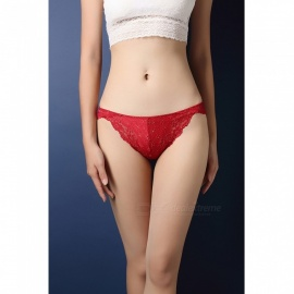 Fanshimite Sexy T-back intimo in pizzo traslucido per donna - Rosso