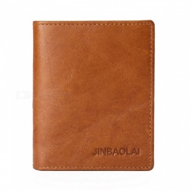 JIN BAO LAI Men's Stylish Folding Leather Card Holder Wallet - Light Coffee