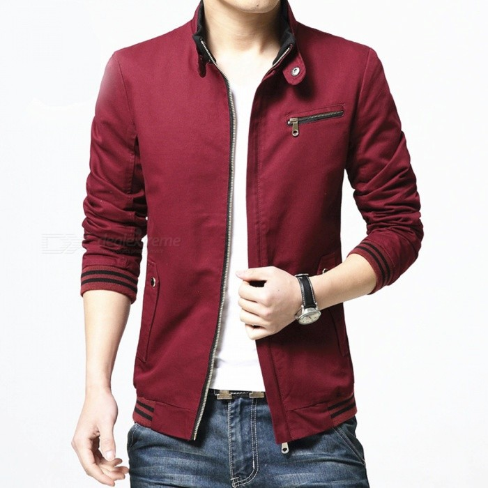 8803 Herren Slim Cotton Casual Fashion Jacke Mantel - weinrot (2XL)