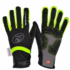 NUCKILY PD07 Unisex Winter Full Finger Cycling Touch Screen Gloves Warm Thickened Windproof Outdoor Sports Gloves - Green (L)
