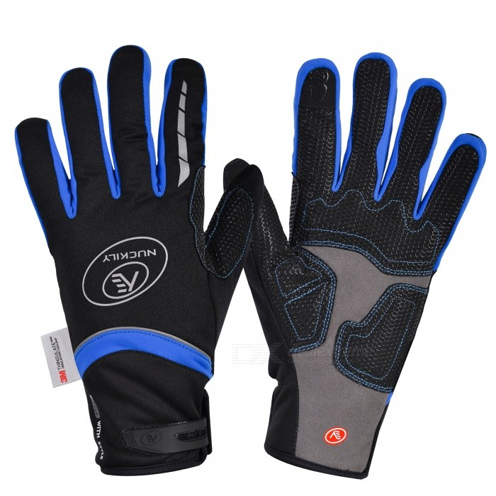 NUCKILY PD07 Unisex Winter Full Finger Cycling Touch Screen Gloves Warm Thickened Windproof Outdoor Sports Gloves - Blue (M)Gloves<br>Form  ColorBlueSizeMModelPD07Quantity1 DX.PCM.Model.AttributeModel.UnitMaterial50% polyester 30% Nylon 20% PUTypeFull-Finger GlovesSuitable forAdultsGenderUnisexPalm Girth10.5 DX.PCM.Model.AttributeModel.UnitGlove Length25 DX.PCM.Model.AttributeModel.UnitBest UseCycling,Mountain Cycling,Recreational Cycling,Road Cycling,Triathlon,Bike commuting &amp; touringPacking List1 x Pairs of gloves<br>