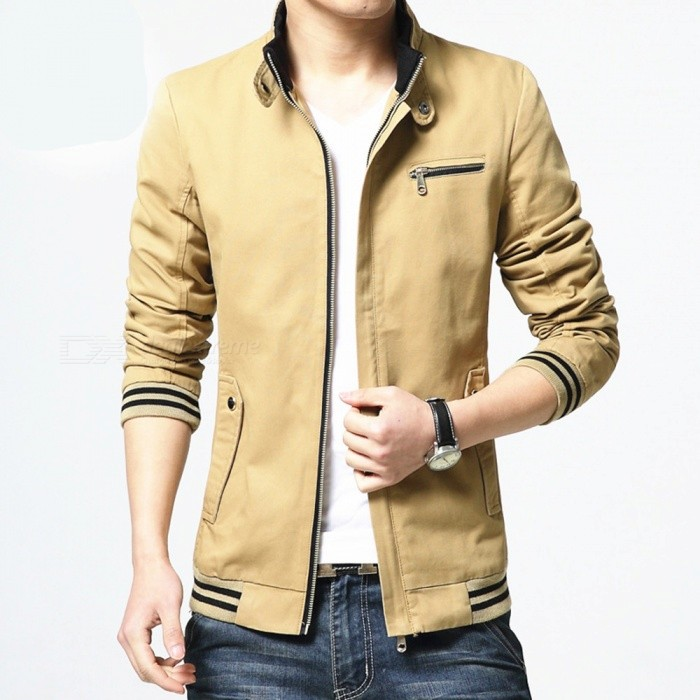 8803 Mens Slim Cotton Casual Fashion Jacket Coat - Khaki (L)Jackets and Coats<br>Form  ColorYellowish BrownSizeLModel8803Quantity1 DX.PCM.Model.AttributeModel.UnitShade Of ColorBrownMaterialCottonStyleFashionTop FlyZipperShoulder Width44 DX.PCM.Model.AttributeModel.UnitChest Girth106 DX.PCM.Model.AttributeModel.UnitWaist Girth100 DX.PCM.Model.AttributeModel.UnitSleeve Length64 DX.PCM.Model.AttributeModel.UnitTotal Length66 DX.PCM.Model.AttributeModel.UnitSuitable for Height170 DX.PCM.Model.AttributeModel.UnitPacking List1 x Coat<br>