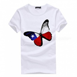 3D Butterfly Pattern Fashion Personality Casual Cotton Short-Sleeved Men's T-Shirt - White (M)