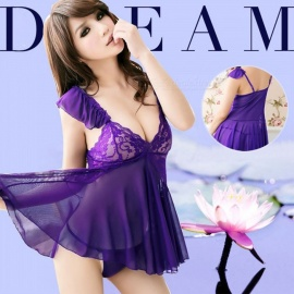 Fanshimite Sexy Lace Deep V Neck Skirt Pajamas for Women - Purple (One Size)