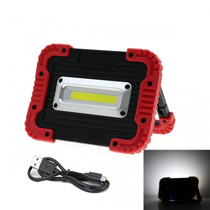 JRLED 10W Cold White Portable 5V USB Rechargeable 3-Mode Floodlight Emergency Lamp - Red FrameFloodlights<br>Form  ColorBlack + Red + Multi-ColoredColor BINCold White (Floodlight)ModelN/AMaterialAluminum alloy +PCQuantity1 setWaterproof GradeIP65Power10WRated VoltageOthers,DC 5 VConnector TypeOthers,USBChip BrandEpistarChip TypeCOBEmitter TypeCOBTotal Emitters1Theoretical Lumens800 lumensActual Lumens750 lumensColor Temperature6500KDimmableYesBeam Angle120 °CertificationCE ROHSPacking List1 x 10W charging emergency lamp1 x USB Data line<br>