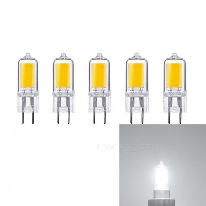 JRLED G4 5W COB Dimmable Cold White LED Light Bulbs (AC 220V / 5 PCS)G4<br>Color BINCold WhiteModelN/AMaterialGlass + LEDForm  ColorYellowQuantity5 piecesPower5WRated VoltageAC 220 VConnector TypeG4Chip BrandEpistarChip TypeN/AEmitter TypeCOBTotal Emitters1Theoretical Lumens500 lumensActual Lumens400 lumensColor Temperature6000KDimmableYesBeam Angle360 °WavelengthN/ACertificationCE ROHSPacking List5 x G4 LED Blubs<br>