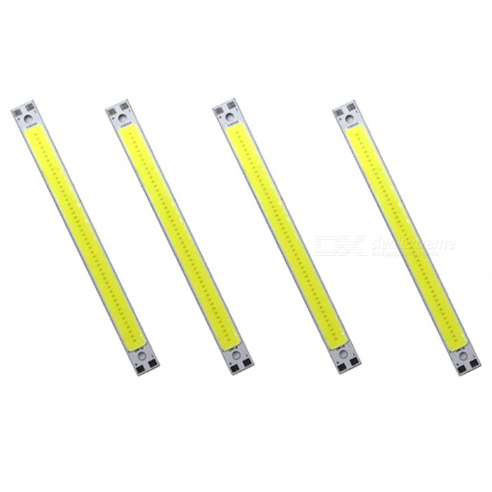 ZHAOYAO 120x10mm 10W DC 12-14V Dimmable COB LED Lights - Cold White (4 PCS)Form  ColorWhite + Silver Grey + Multi-ColoredColor BINCold WhiteMaterialAluminumQuantity4 DX.PCM.Model.AttributeModel.UnitPower10 DX.PCM.Model.AttributeModel.UnitRate VoltageDC 12-14VWorking Current830 DX.PCM.Model.AttributeModel.UnitDimmableYesEmitter TypeCOBTotal Emitters1Beam Angle180 DX.PCM.Model.AttributeModel.UnitColor Temperature6000KActual Lumens0-1100 DX.PCM.Model.AttributeModel.UnitWavelength0Connector TypeOthers,WeldingOther Features5500-7000KPacking List4 x COB LED Lights<br>