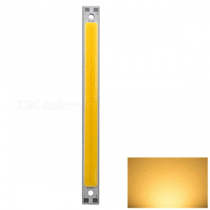 ZHAOYAO 120x10mm 10W DC 12-14V Dimmable COB LED Light - Warm White (1 PC)Form  ColorYellow + White + Multi-ColoredColor BINWarm WhiteMaterialAluminumQuantity1 piecePower10 WRate VoltageDC 12-14VWorking Current830 mADimmableYesEmitter TypeCOBTotal Emitters1Beam Angle180 °Color Temperature3000KActual Lumens0-1100 lumensWavelength0Connector TypeOthers,WeldingOther Features2800-3500KPacking List1 x COB LED Light<br>
