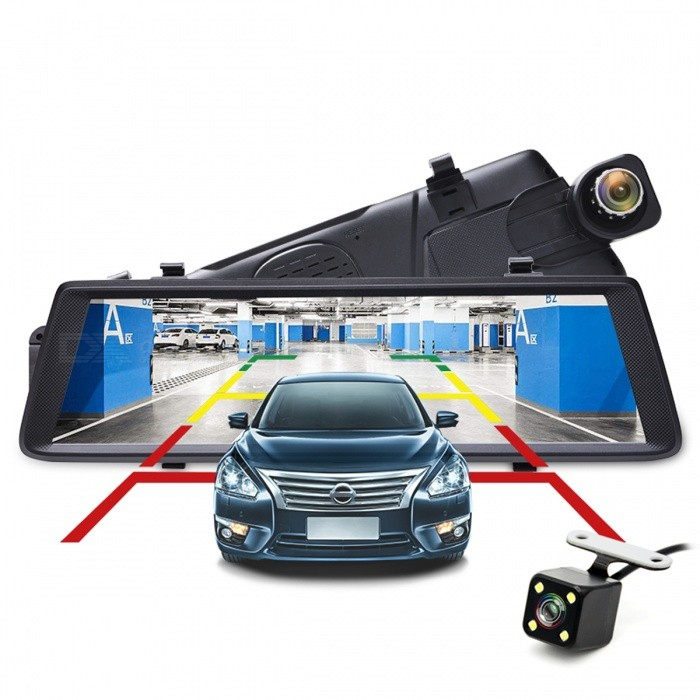 Junsun 10 Full IPS Touch Car DVR Recorder, FHD 1080P Dual Lens Dashcam Rearview Mirror Flexible Front CameraCar DVRs<br>Form  ColorBlackModelFXQuantity1 DX.PCM.Model.AttributeModel.UnitMaterialComposite materialChipsetOthers,N/AOther FeaturesOthers,N/AWide Angle120°-149°Camera Lens2Image SensorCMOSImage Sensor SizeOthersCamera Pixel1.3MPExternal Camera PixelOthers,4.0MPWide Angle140°Optical ZoomOthersScreen TypeCapacitive screenScreen Size10.0 inchesISOOthersExposure CompensationOthersWhite Balance ModeOthersVideo FormatAVIDecode FormatH.263,H.264Video OutputOthersVideo ResolutionOthers,1080PVideo Frame Rate30,60ImagesJPEGStill Image ResolutionOthers,N/AAudio SystemOthersMicrophoneYesMotion DetectionYesAuto-Power OnYesLED QtyOthers,1IR Night VisionYesG-sensorYesLoop RecordOthersDelay ShutdownNoTime StampYesBuilt-in Memory / RAM1GBMax. Capacity32GBStorage ExpansionTFAV InterfaceAV-out,OthersData interfaceMicro USBWorking Voltage   5 DX.PCM.Model.AttributeModel.UnitBattery Capacity800 DX.PCM.Model.AttributeModel.UnitWorking Time2 DX.PCM.Model.AttributeModel.UnitMenu LanguageOthers,Chinese (Simplified),Chinese (Traditional),EnglishPacking List1 x Car DVR1 x Data cable2 x Fixed buckle1 x Car charger1 x Rearview camera<br>