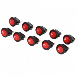 Qook RH73 15mm Ship Rocker Switch w/ LED Indicator - Black + Red (10 PCS)