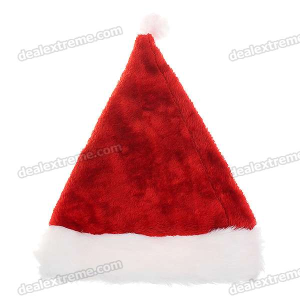 Festive Plush Christmas Hat - Red + White