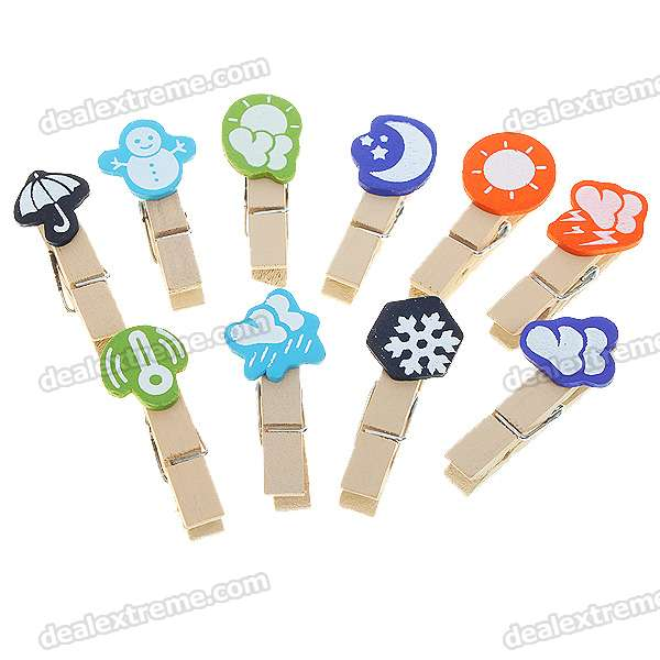 Stylish Funny Wooden Weather Icon Memo Photo Clip (Color Assorted/10-Pack)
