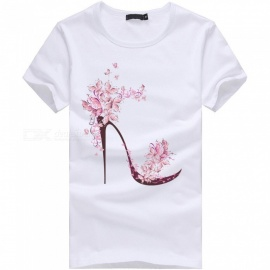 3D High Heels Series Fashion Personality Casual Cotton Short-Sleeved T-Shirt for Men - White (XL)
