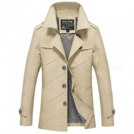 1111 Men's Slim Outdoor Casual Fashion Jacket Coat - Khaki (4XL)