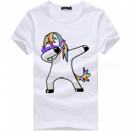 3D Unicorn No Angle Series Fashion Personality Casual Cotton Short-Sleeved T-Shirt for Men - White (3XL)