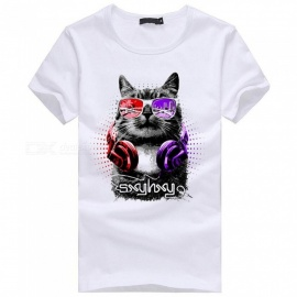 3D Cat Pattern Fashion Personality Casual Cotton Short-Sleeved T-shirt for Men - White (3XL)