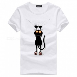 3D paw cat pattern fashion personality casual katoenen T-shirt met korte mouwen voor heren - wit (3XL)