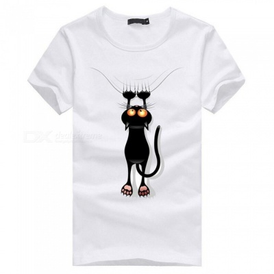 3D Paw Cat Pattern Fashion Personality Casual Cotton Short-Sleeved T-shirt for Men - White (3XL)