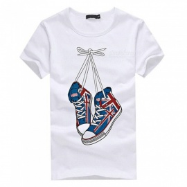 3D Shoes Pattern Fashion Personality Casual Cotton Short-Sleeved T-shirt for Men - White (2XL)