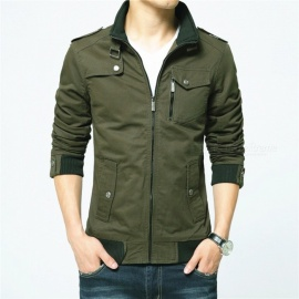 1616 Men's Slim Casual Fashion Jacket Coat - Green (3XL)