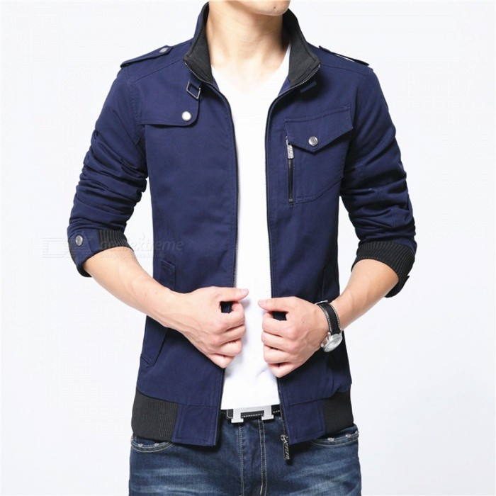1616 Mens Slim Casual Fashion Jacket Coat - Blue (2XL)Jackets and Coats<br>Form  ColorBlueSizeXXLModel1616Quantity1 pieceShade Of ColorBlueMaterialPolyester and cottonStyleFashionTop FlyZipperShoulder Width47.5 cmChest Girth118 cmWaist Girth92 cmSleeve Length66.5 cmTotal Length70 cmSuitable for Height180 cmPacking List1 x Coat<br>