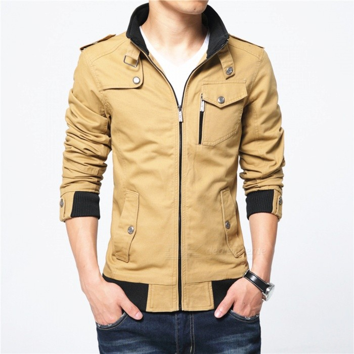 1616 Mens Slim Casual Fashion Jacket Coat - Khaki (4XL)Jackets and Coats<br>Form  ColorKhakiSize4XLModel1616Quantity1 pieceShade Of ColorBrownMaterialPolyester and cottonStyleFashionTop FlyZipperShoulder Width50.5 cmChest Girth126 cmWaist Girth98 cmSleeve Length69.5 cmTotal Length74 cmSuitable for Height185 cmPacking List1 x Coat<br>