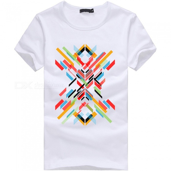 3D Color Bar Series Fashion Personality Casual Cotton Short-Sleeved T-shirt for Men - White (M)Tees<br>Form  ColorWhiteSizeMQuantity1 pieceShade Of ColorWhiteMaterialCottonShoulder Width46 cmChest Girth92 cmSleeve Length19 cmTotal Length65 cmSuitable for Height165 cmPacking List1 x Short sleeve T-shirt<br>