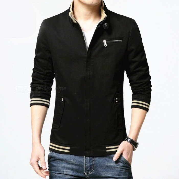 8803 European And American Mens Slim Cotton Casual Fashion Jacket Jacket - Black (XL)Jackets and Coats<br>Form  ColorBlackSizeXLModel8803Quantity1 DX.PCM.Model.AttributeModel.UnitShade Of ColorBlackMaterialcottonStyleFashionTop FlyZipperShoulder Width45.3 DX.PCM.Model.AttributeModel.UnitChest Girth110 DX.PCM.Model.AttributeModel.UnitWaist Girth104 DX.PCM.Model.AttributeModel.UnitSleeve Length65.5 DX.PCM.Model.AttributeModel.UnitTotal Length68 DX.PCM.Model.AttributeModel.UnitSuitable for Height175 DX.PCM.Model.AttributeModel.UnitPacking List1 x Coat<br>