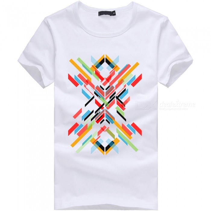 3D Color Bar Series Fashion Personality Casual Cotton Short-Sleeved T-shirt for Men - White (XL)Tees<br>Form  ColorWhiteSizeXLQuantity1 DX.PCM.Model.AttributeModel.UnitShade Of ColorWhiteMaterialCottonShoulder Width50 DX.PCM.Model.AttributeModel.UnitChest Girth100 DX.PCM.Model.AttributeModel.UnitSleeve Length20 DX.PCM.Model.AttributeModel.UnitTotal Length69 DX.PCM.Model.AttributeModel.UnitSuitable for Height175 DX.PCM.Model.AttributeModel.UnitPacking List1 x Short sleeve T-shirt<br>
