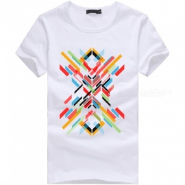 3D Color Bar Series Fashion Personality Casual Cotton Short-Sleeved T-shirt for Men - White (2XL)