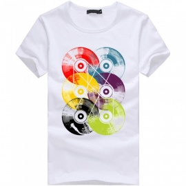 3D Disc Series Fashion Personality Casual Cotton Short-Sleeved T-shirt for Men - White (XL)
