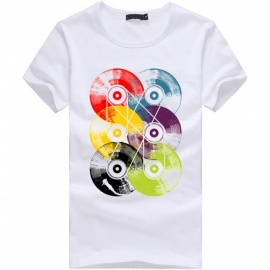 3D Disc Series Fashion Personality Casual Cotton Short-Sleeved T-shirt for Men - White (2XL)