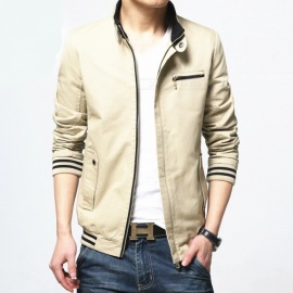 8803 Men's Slim Cotton Casual Fashion Jacket Coat - Khaki (4XL)