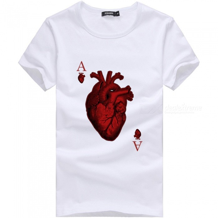 3D Red Heart A Pattern Fashion Personality Casual Cotton Short-Sleeved T-shirt for Men - White (M)Tees<br>Form  ColorWhiteSizeMQuantity1 DX.PCM.Model.AttributeModel.UnitShade Of ColorWhiteMaterialCottonShoulder Width46 DX.PCM.Model.AttributeModel.UnitChest Girth92 DX.PCM.Model.AttributeModel.UnitSleeve Length19 DX.PCM.Model.AttributeModel.UnitTotal Length65 DX.PCM.Model.AttributeModel.UnitSuitable for Height165 DX.PCM.Model.AttributeModel.UnitPacking List1 x Short sleeve T-shirt<br>