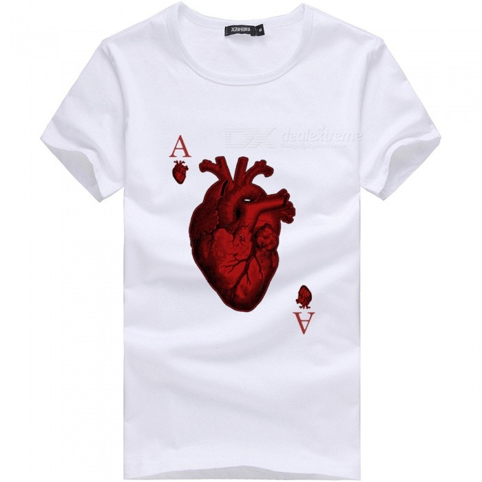 3D Red Heart A Pattern Fashion Personality Casual Cotton Short-Sleeved T-shirt for Men - White (L)Tees<br>Form  ColorWhiteSizeLQuantity1 DX.PCM.Model.AttributeModel.UnitShade Of ColorWhiteMaterialCottonShoulder Width48 DX.PCM.Model.AttributeModel.UnitChest Girth96 DX.PCM.Model.AttributeModel.UnitSleeve Length19.5 DX.PCM.Model.AttributeModel.UnitTotal Length67 DX.PCM.Model.AttributeModel.UnitSuitable for Height170 DX.PCM.Model.AttributeModel.UnitPacking List1 x Short sleeve T-shirt<br>