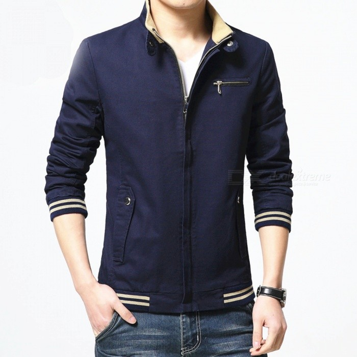 8803 Mens Slim Cotton Casual Fashion Jacket Coat - Blue (M)Jackets and Coats<br>Form  ColorBlueSizeMModel8803Quantity1 pieceShade Of ColorBlueMaterialcottonStyleFashionTop FlyZipperShoulder Width42.5 cmChest Girth102 cmWaist Girth96 cmSleeve Length62.5 cmTotal Length64 cmSuitable for Height165 cmPacking List1 x Coat<br>