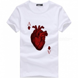 3D Red Heart A Pattern Fashion Personality Casual Cotton Short-Sleeved T-shirt for Men - White (3XL)