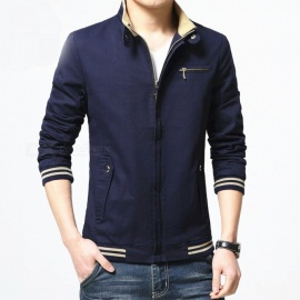 8803 Men's Slim Cotton Casual Fashion Jacket Coat - Blue (3XL)
