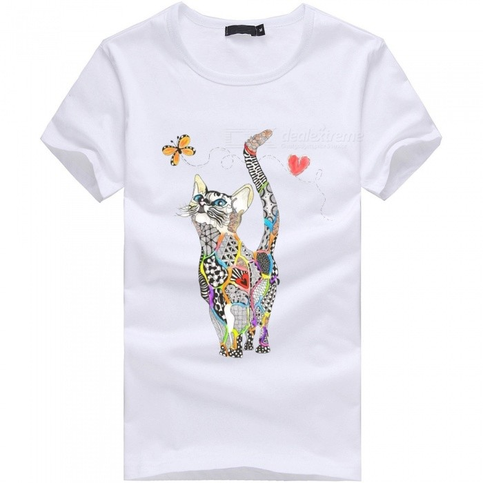 3D Cat Butterfly Series Fashion Personality Casual Cotton Short-Sleeved T-shirt for Men - White (3XL)Tees<br>Form  ColorWhiteSizeXXXLQuantity1 pieceShade Of ColorWhiteMaterialCottonShoulder Width55 cmChest Girth110 cmSleeve Length21 cmTotal Length73 cmSuitable for Height185 cmPacking List1 x Short sleeve T-shirt<br>